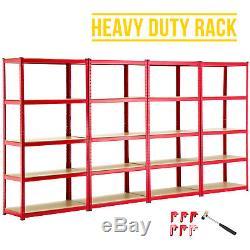 unite de rayonnage a tablettes de garage robuste avec 4 baies etageres en acier rouge