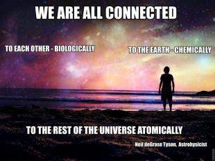 We are all connected to each other biologically to the earth chemically to the rest of the universe atomically