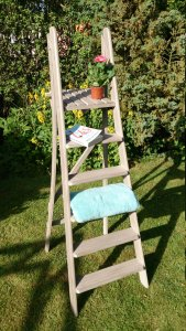 Vintage French Grey Storage Ladder, £60