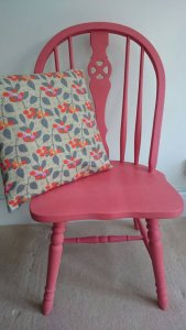 Coral Pink Wheelback Chair, £40