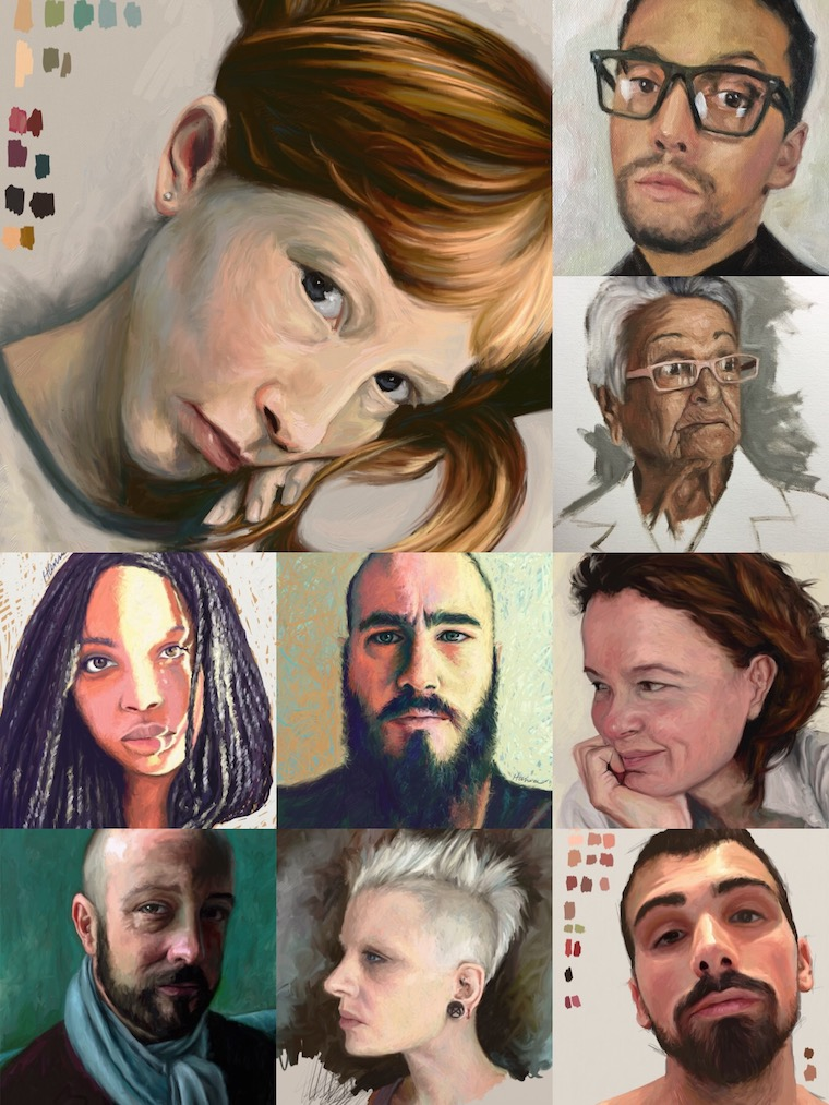 Portrait Painting Challenge Collage