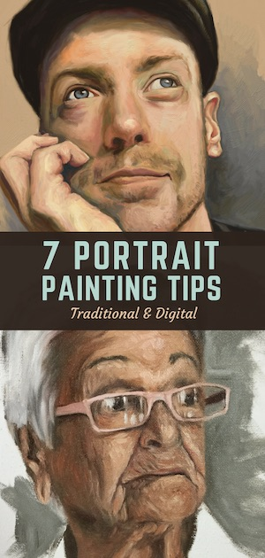 portrait painting tips pin
