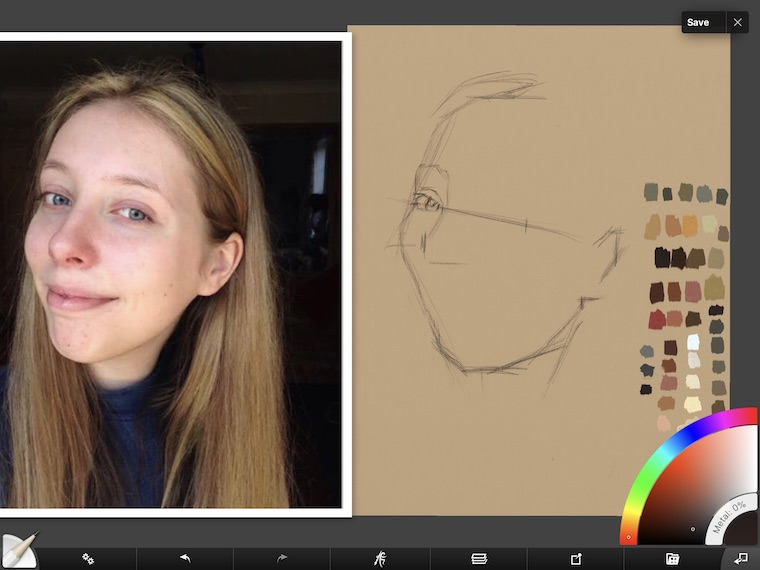 Paint on the iPad step-by-step portrait in ArtRage step 2