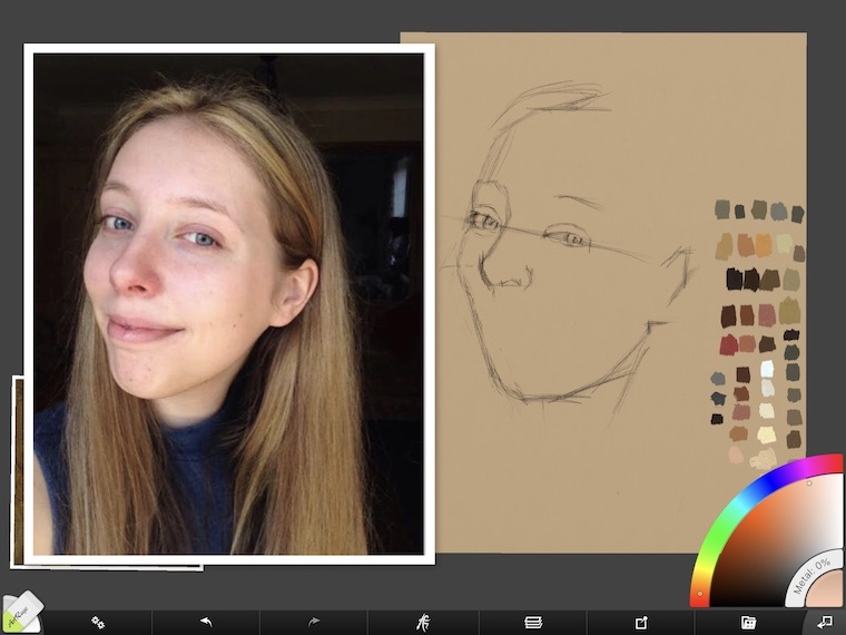 Paint on the iPad step-by-step portrait in ArtRage step 4