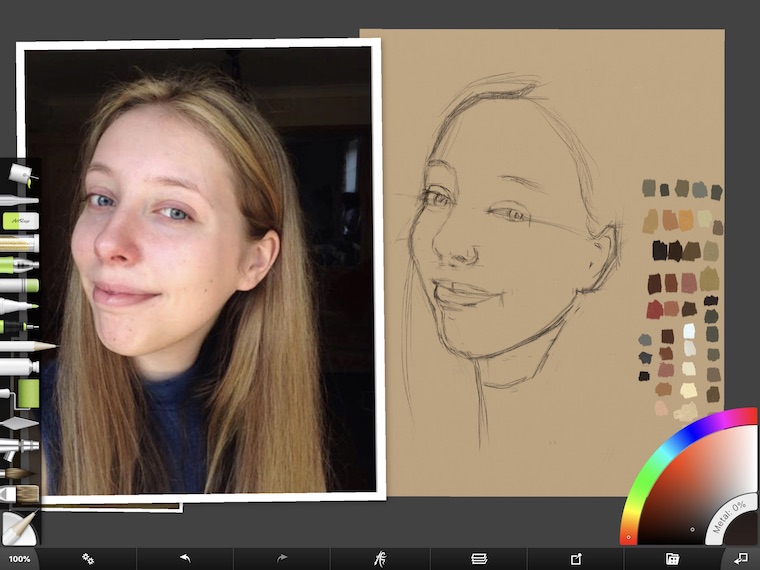 Paint on the iPad step-by-step portrait in ArtRage step 6