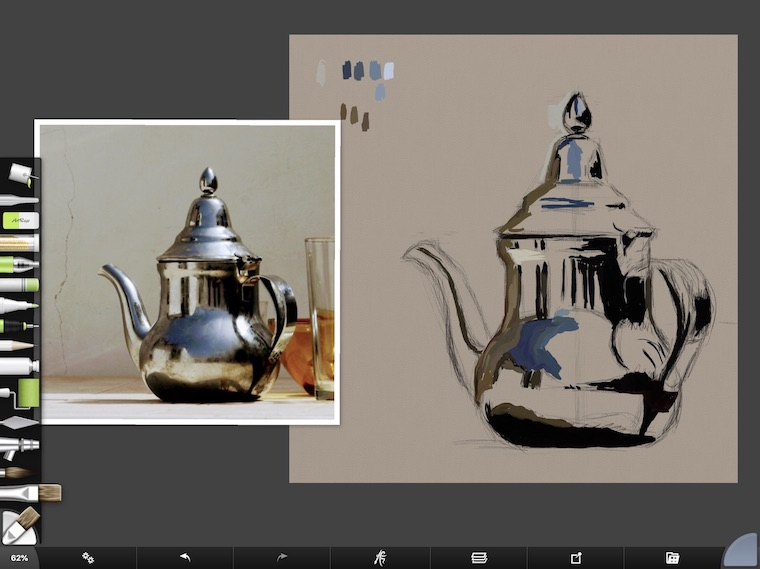 tips for painting digitally in ArtRage dark values teapot