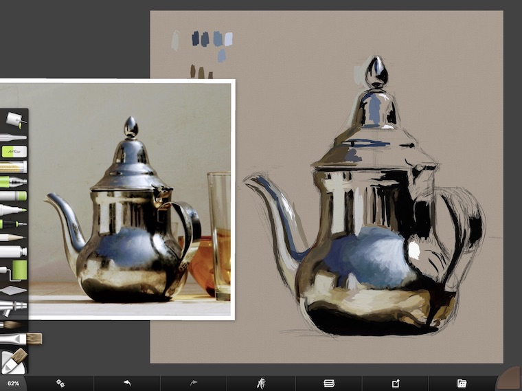 tips for painting digitally in ArtRage adding medium values teapot