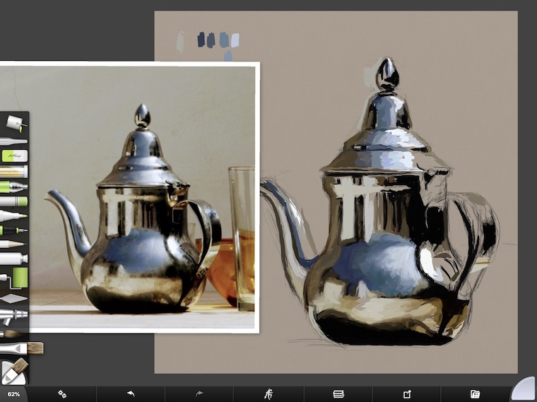tips for painting digitally in ArtRage popping in some highlights teapot