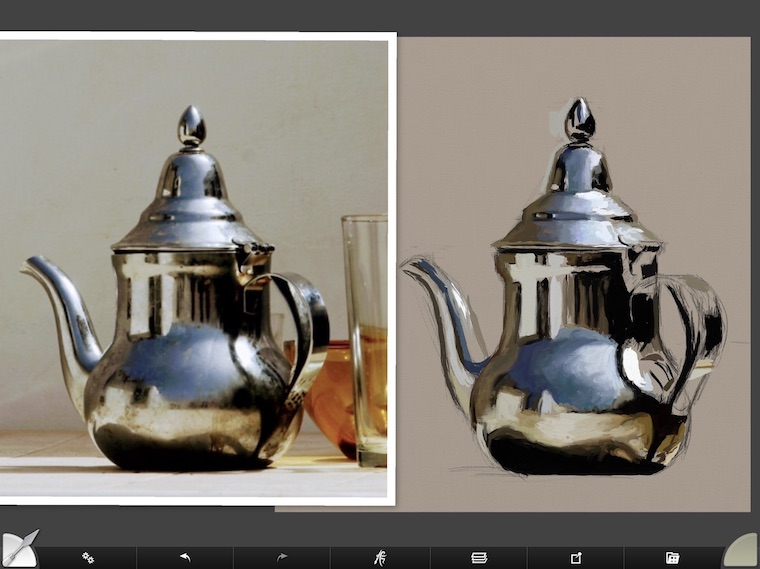 tips for painting digitally in ArtRage blending teapot
