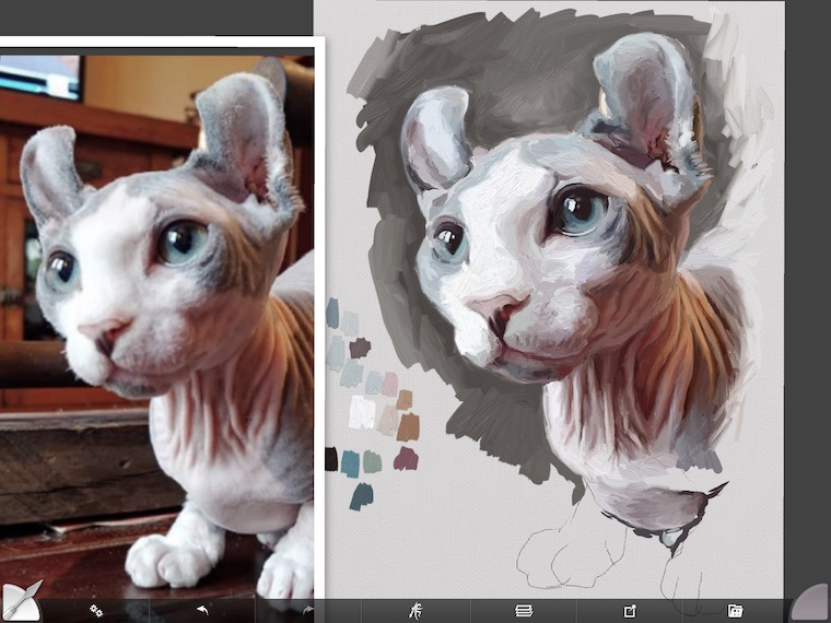 Painting Remy the Gargoyle Sphynx hairless cat