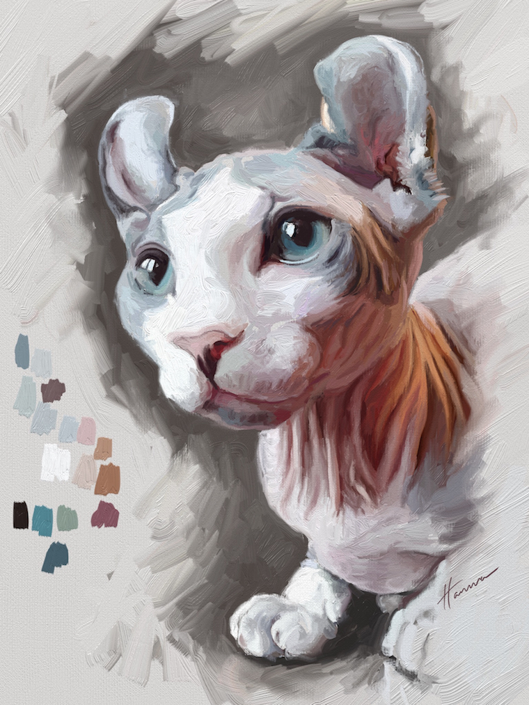 Painting a cat step by step in ArtRage featuring Remy the Gargoyle Sphynx hairless cat final