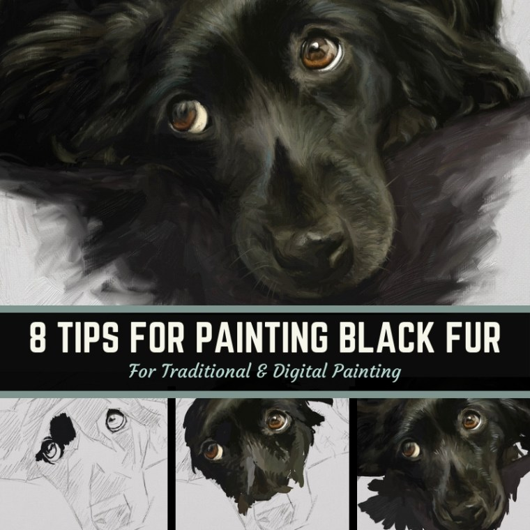 8 tips for painting black fur traditional and digital in artrage step-by-step tutorial
