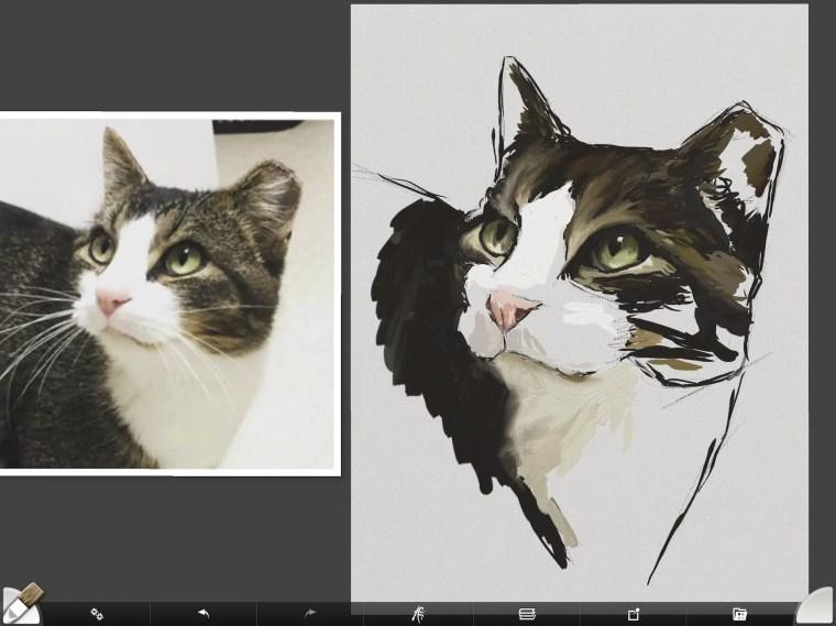 Cat digital painting tutorial step 6 painting nose