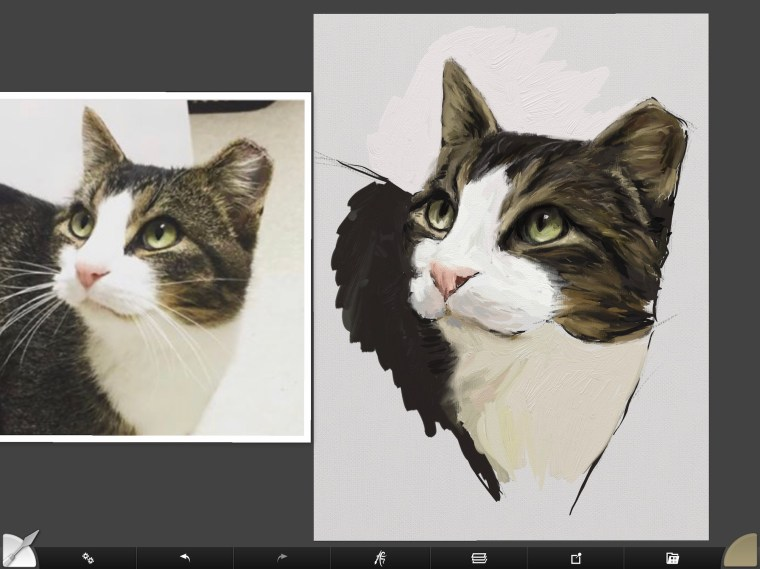 Cat digital painting tutorial step 8 filling in detail for fur