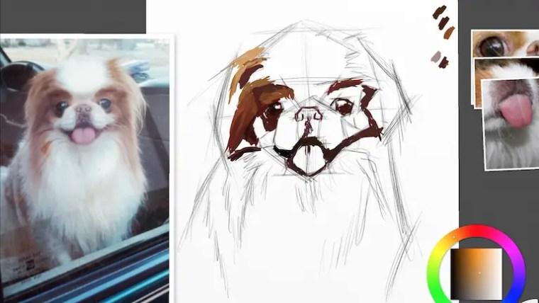 Step 3 painting a dog portrait