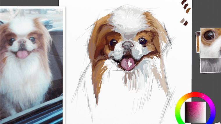 Step 4 painting a dog portrait