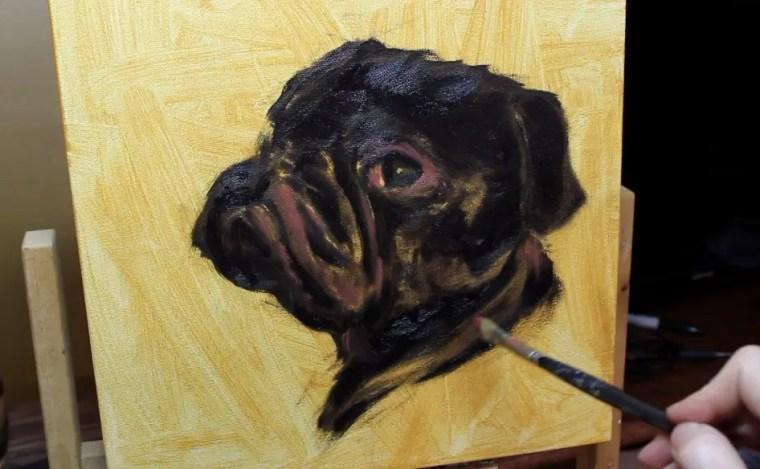 step 3 pet portrait painting a pug