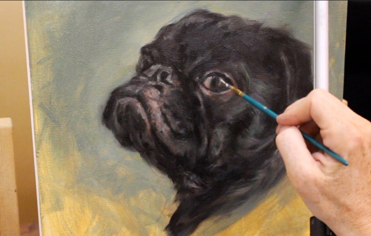 Step 7 black pug dog oil painting shelley hanna tutorial how to