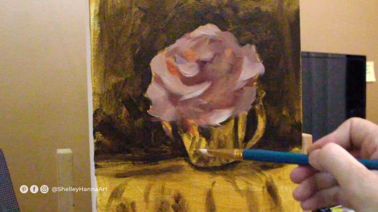 Impressionist Flower painting pink colors