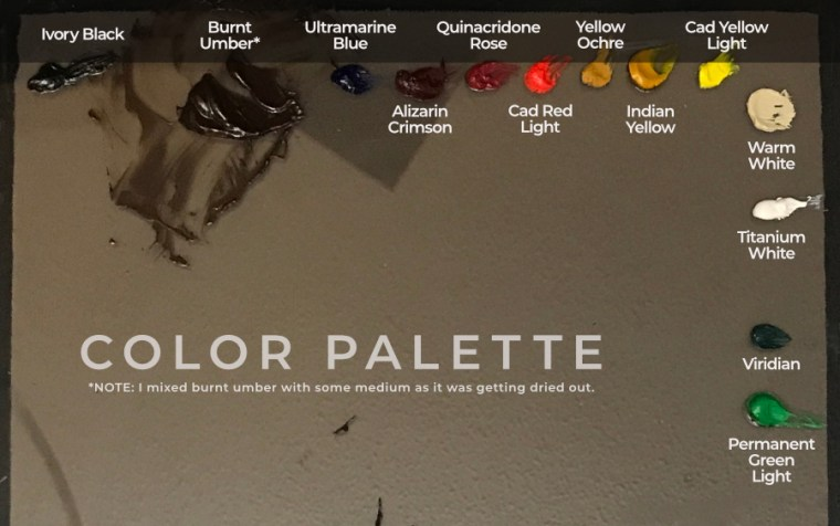color palette before mixing