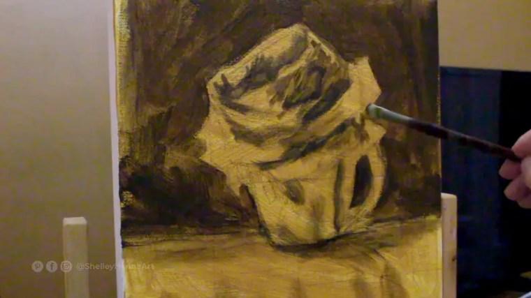 blocking in darker color impressionist flower