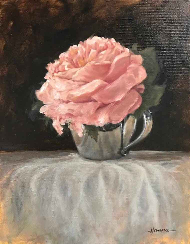 signed painting rose in silver cup