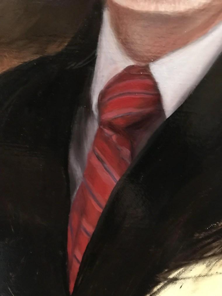 Detail of tie realistic portrait painting