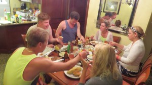 Kassian family dining in the villa (photo by Wayne Kassian)