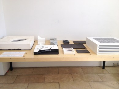 M.Arch thesis. Material compilation across from the panels.