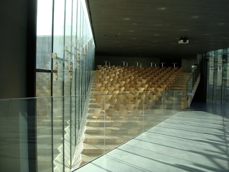 Interior shot of the angles and glass details at the Maritime Museum.