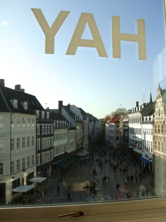 View from the HAY Interior Design flagship onto a plaza on Strøget, one of the largest pedestrian only shopping streets in Europe.