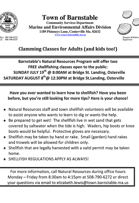 Barnstable Clamming Classes
