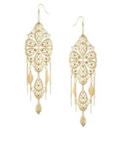 Image 1 ofASOS Filigree Faux Pearl Chandelier Earrings