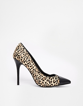 Image 1 of River Island Leather Pony Effect Heeled Court Shoes