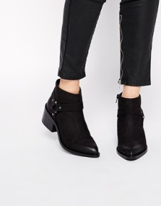 Image 1 of ASOS RAPID Leather Stirrup Weave Ankle Boots