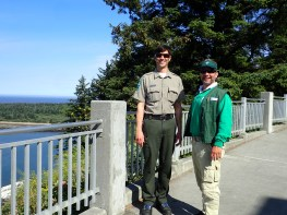 Stephen and Jack outside the Lewis and Clark center