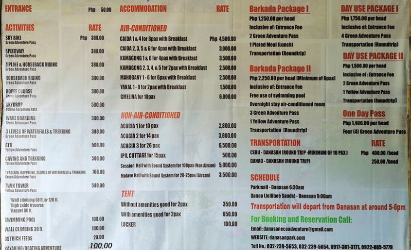 Prices of Activities and other informations
