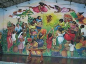 Circle of Commitment mural in the Batahola Cultural Center in Managua