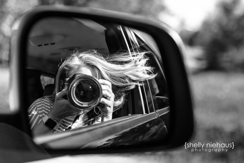 Shelly Niehaus Photography| Dallas Family Photography| Woman with camera in reflection of car mirror
