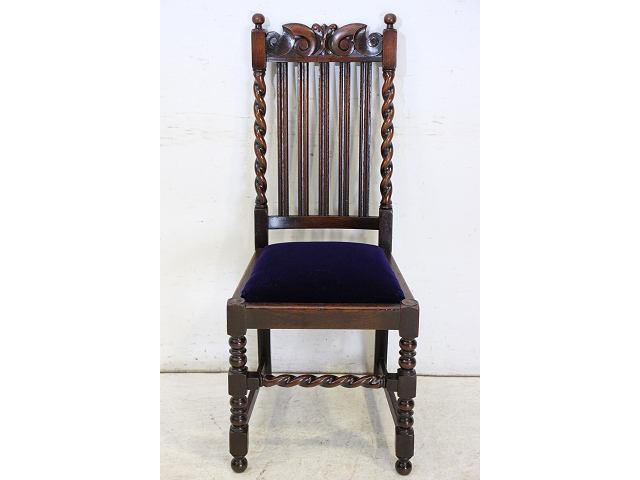 1920年代イギリス製アンティーク オーク バリーシュガーツイストの椅子