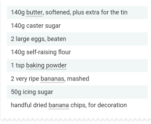 Ingredients for Brilliant Banana Loaf