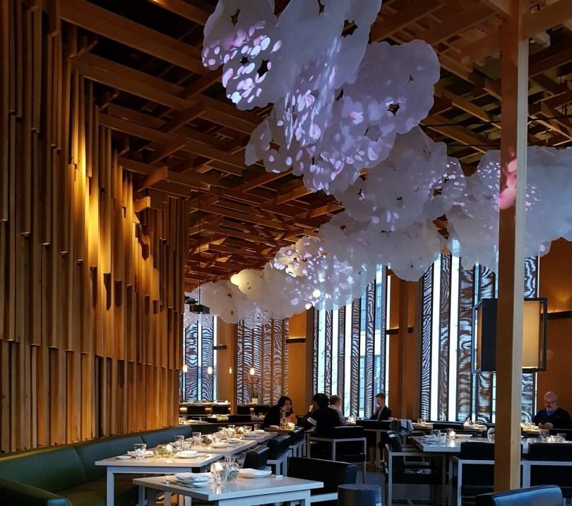 Sake no Hana dining area with cherry blossom display
