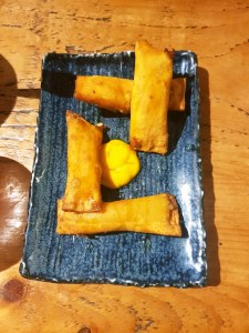 Smoked cheddar Tequenos (Cheese sticks) were not as expected (according to their description, but were very nice. Sweet and crispy