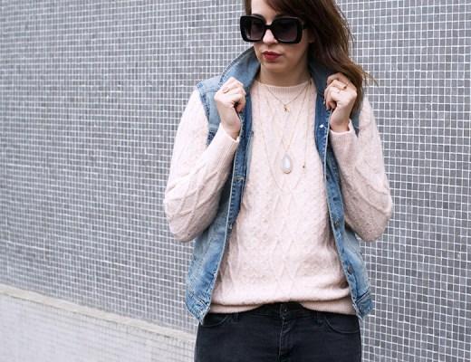 cyra-shoes, pull doudou, veste en jean sans manche, hush puppies
