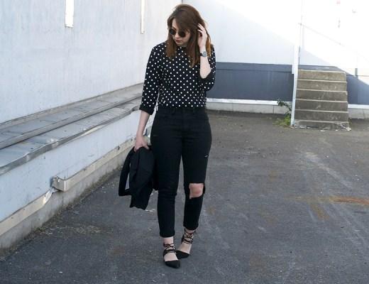 comme des garçons, play, polka dot, long sleeve, look, outfit