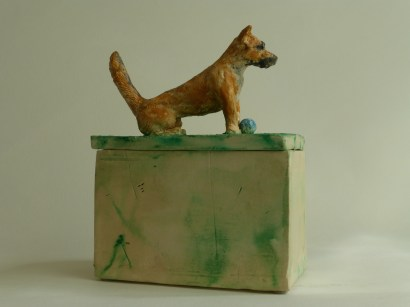"""SOLD! """"Angel Dog – Baller Extraordinaire,"""" hand-built ceramic sculpture, earthenware clay, encaustic paint, glass seed beads, (approximate): 7.5"""" (h), 5.5"""" (d), 3.25"""" (w), [box inner dimensions: 3.5"""" (h), 4.75 (d), 2.5"""" (w)], $400.00"""