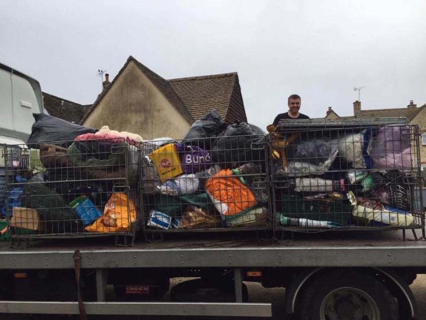 Pallets of donations to 1 Dog At A Time Rescue UK
