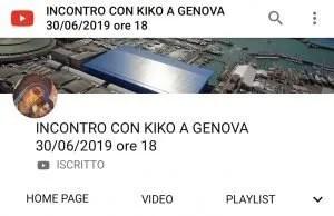 Diretta Incontro Kiko Genova vocazionale Liguria