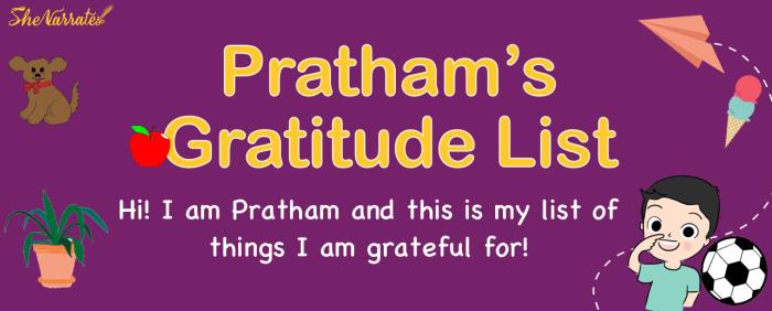 A - Z Gratitude List of Pratham