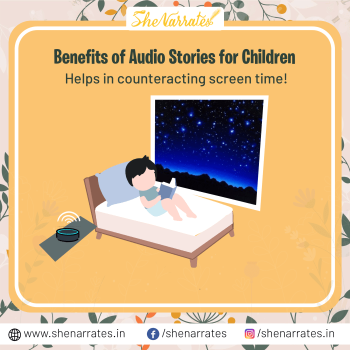 There are numerous Benefits of Audio Stories for Children and one of them is Audio Stories Helps in counteracting screen time of Children.